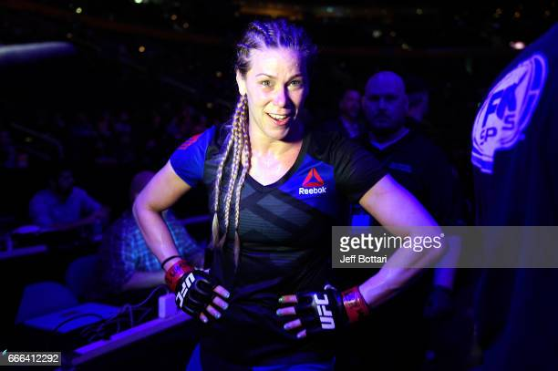 Katlyn Chookagian walks backstage after defeating Irene Aldana of Mexico in their women's bantamweight bout during the UFC 210 event at the KeyBank...