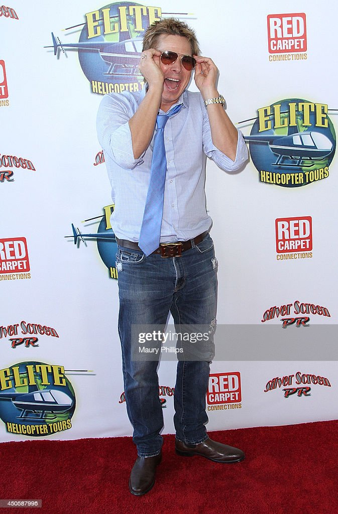 Kato Kaelin arrives at Lorenzo Lamas' New Business Elite Helicopter launch party at the Van Nuys Airport on June 13, 2014 in Van Nuys, California.