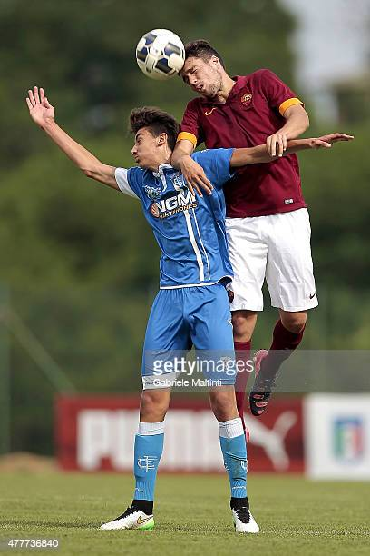 Katriel Islamaj of Empoli FC battles for the ball with Riccardo Marchizza of AS Roma during the Italian Football Federation youth championship finals...