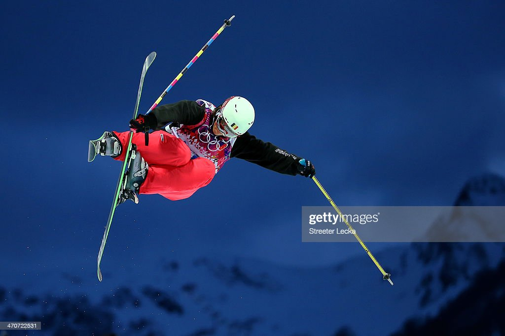 Katrien Aerts of Belgium competes in the Freestyle Skiing Ladies' Ski Halfpipe Qualification on day thirteen of the 2014 Winter Olympics at Rosa...