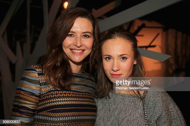 Katrin Bauerfeind and Alina Levshin are seen backstage ahead of the Kilian Kerner show during the MercedesBenz Fashion Week Berlin Autumn/Winter 2016...