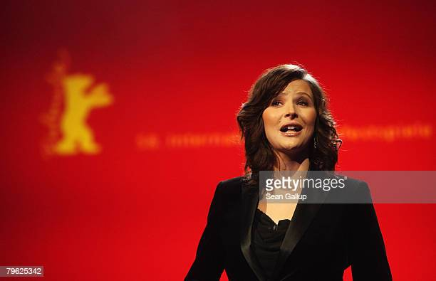 Katrin Bauerfeind hosts the Opening Ceremony as part of the 58th Berlinale Film Festival at the Berlinale Palast on February 7 2008 in Berlin Germany