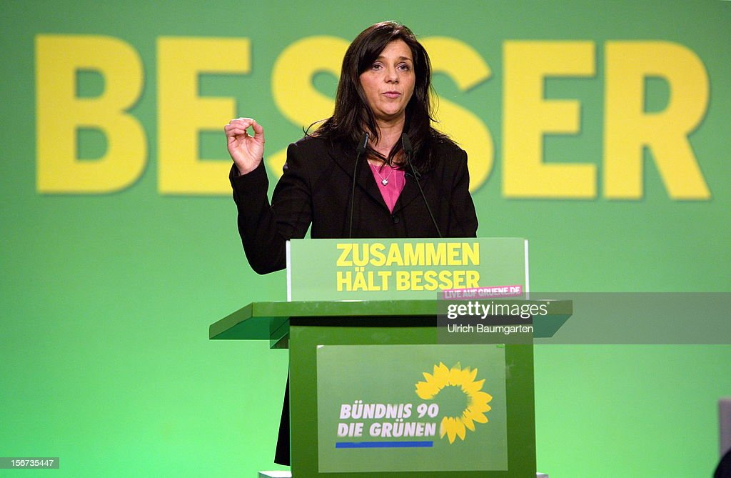 Katrin Doering-Eckardt, leading candidate for the election 2013, speaks during the Greens Party federal convention at Hannover Congress Centrum on November 17, 2012 in Hanover, Germany. Germany faces federal elections in 2013 and the Greens Party, which is Germany's third most popular party, could well become a government coalition partner.