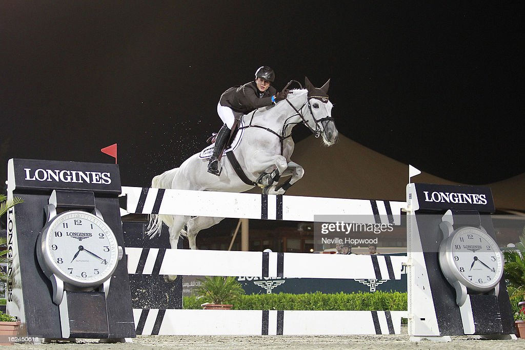 Katrin Eckermann of Germany rides Carlson during the President of the UAE Showjumping Cup - Furusiyyah Nations Cup Series presented by Longines on February 23, 2013 in Al Ain, United Arab Emirates.