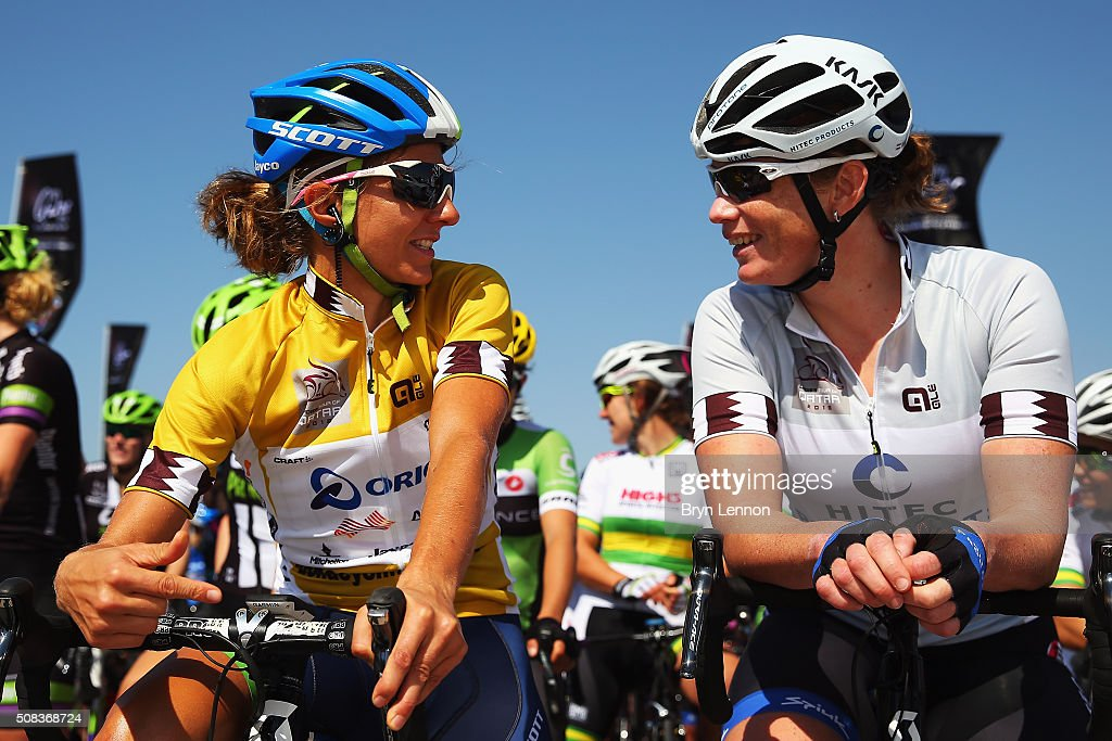 Katrin Garfoot (l) of Australia and Orica-AIS chats to <a gi-track='captionPersonalityLinkClicked' href=/galleries/search?phrase=Kirsten+Wild&family=editorial&specificpeople=5701453 ng-click='$event.stopPropagation()'>Kirsten Wild</a> of The Netherlands and Hitec Products at the start of stage 3 of the 2016 Ladies Tour of Qatar from Al Zubarah Fort to Madinat Al Shamal on February 4, 2016 in Al Zubarah Fort, Qatar.