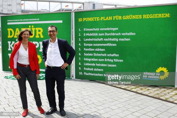 Katrin GoeringEckard and Cem Ozdemir Fraction chairman and Chairman of the German Green Party present the election campaign program revealing a...