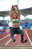 Katrin Green of Germany competes in the F44/46 Women's Long Jump during the Track and Field event of the Paralympic World Cup at the Manchester...