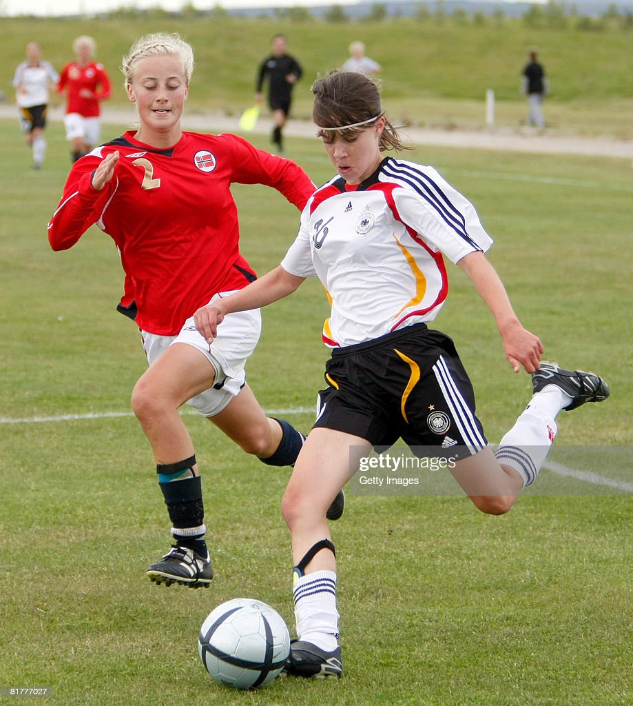Katrin Hartmannsegger of Germany passes the ball during the U16 Nordic Cup match between Norway and Germany at the Hvolsvollur stadium on June 30, 2008 in Hvolsvoellur, Iceland.