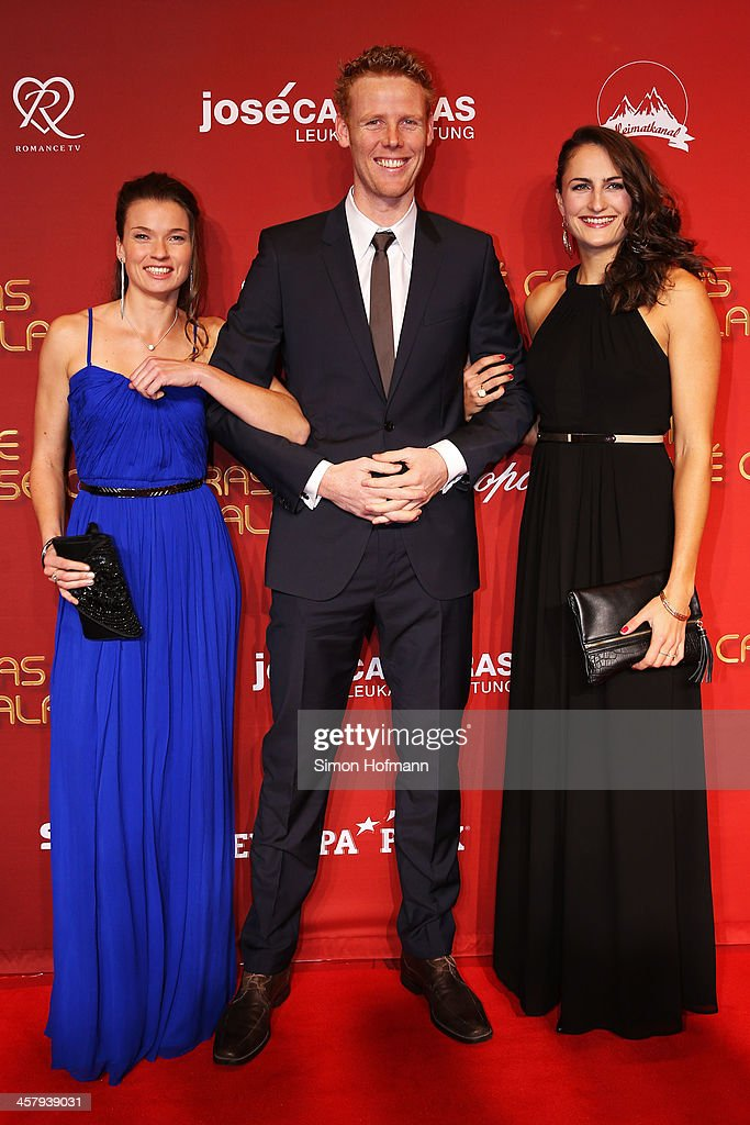 Katrin Holtwick, Jonas Reckermann and Ilka Semmler attend the 19th Annual Jose Carreras Gala at Europapark on December 19, 2013 in Rust, Germany.