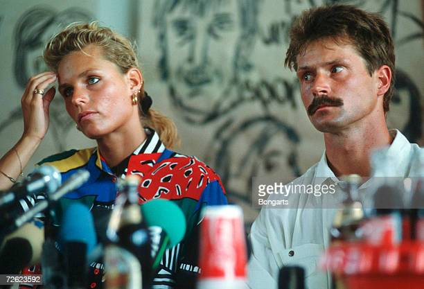 Katrin Krabbe and Coach Thomas Springstein are seen during the press conference on June 13 1992 in Neubrandenburg Germany
