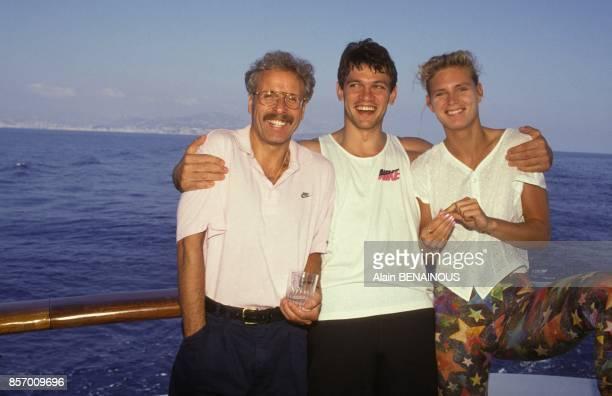 Katrin Krabbe athlete allemande championne du monde du 100 metres avec Jos Hermens et Torsten Krentz le 18 septembre 1991 a Monaco