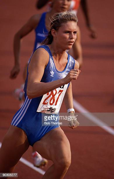 Katrin Krabbe of East Germany winner of the women's 200m final at the 15th European Athletics Championships held in Split Yugoslavia in August 1990