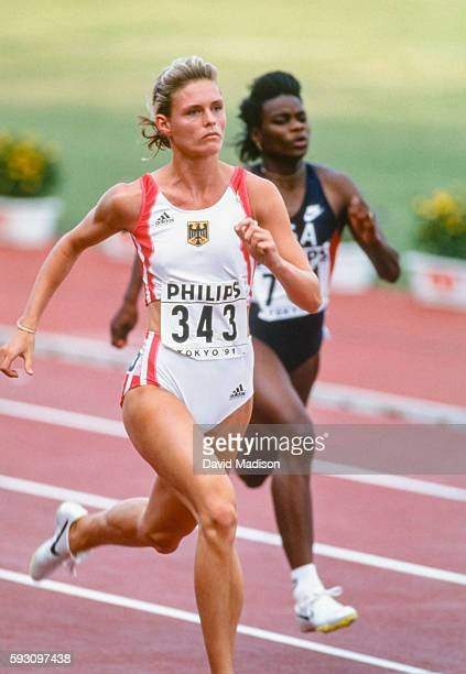 Katrin Krabbe of Germany competes in the 100 meter event of the 1991 IAAF World Championships during August 1991 at the National Olympic Stadium in...