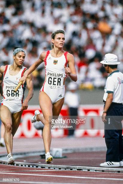 Katrin Krabbe of Germany competes in the 4 x 100 meter relay event of the 1991 IAAF World Championships during August 1991 at the National Olympic...