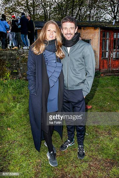 Katrin Kraus wearing a dress of COS and her husband producer Oliver Berben attend the presentation of a joint project by COS and Michael Sailstorfer...