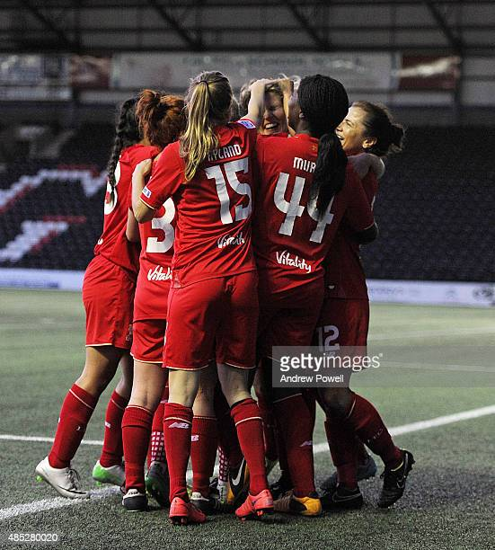 Katrin Omarsdottir of Liverpool Ladies celebrates after scoring the second during the Women's Super League match between Liverpool Ladies and...