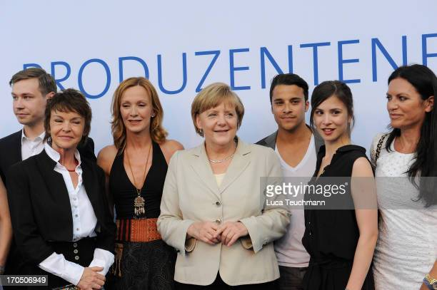 Katrin Sass German Chancellor Angela Merkel Katja Flint Aylin Tezel and Christine Neubauer attend the producer party 2013 of the German producers...