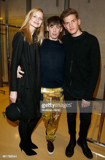 Katrin Thormann and a friend meet Kilian Kerner at the Kilian Kerner show during the MercedesBenz Fashion Week Berlin Autumn/Winter 2015/16 at Kosmos...