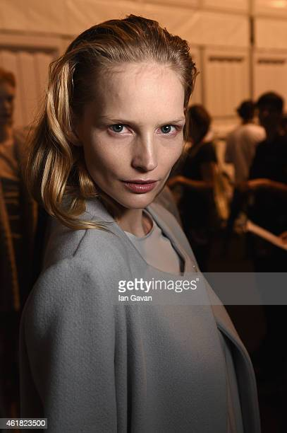Katrin Thormann is seen backstage ahead of the Minx by Eva Lutz show during the MercedesBenz Fashion Week Berlin Autumn/Winter 2015/16 at Brandenburg...