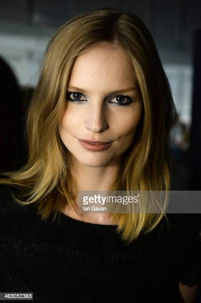 Katrin Thormann poses backstage ahead of the Laurel show during MercedesBenz Fashion Week Autumn/Winter 2014/15 at Brandenburg Gate on January 16...