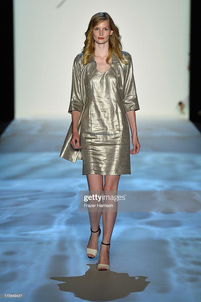 Katrin Thormann walks the runway at Minx By Eva Lutz show during Mercedes-Benz Fashion Week Spring/Summer 2014 at Brandenburg Gate on July 3, 2013 in Berlin, Germany.