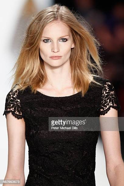 Katrin Thormann walks the runway at the Laurel show during MercedesBenz Fashion Week Autumn/Winter 2014/15 at Brandenburg Gate on January 16 2014 in...