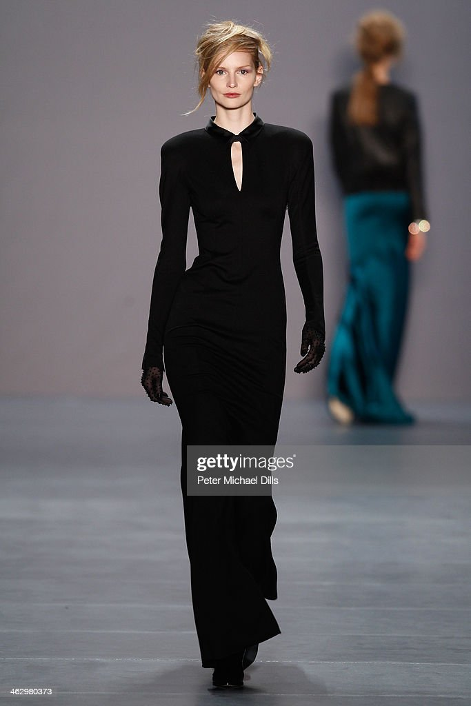 Katrin Thormann walks the runway at the Marc Cain show during MercedesBenz Fashion Week Autumn/Winter 2014/15 at Brandenburg Gate on January 16 2014...