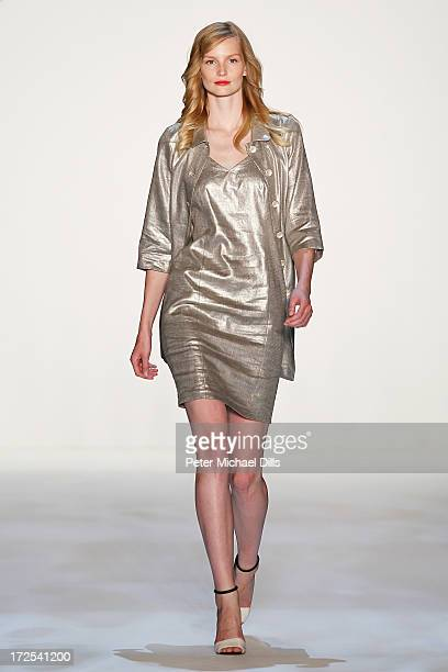 Katrin Thormann walks the runway at the Minx By Eva Lutz show during MercedesBenz Fashion Week Spring/Summer 2014 at Brandenburg Gate on July 3 2013...