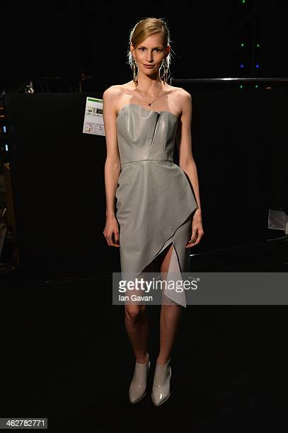 Katrin Thormannl poses backstage prior the Malaikaraiss Show during MercedesBenz Fashion Week Autumn/Winter 2014/15 at Brandenburg Gate on January 15...
