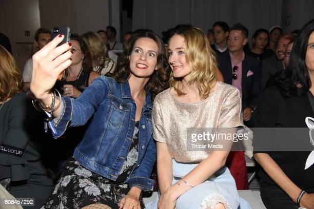 Katrin Wrobel and AnneCatrin Maerzke attend the Lena Hoschek show during the MercedesBenz Fashion Week Berlin Spring/Summer 2018 at Kaufhaus Jandorf...