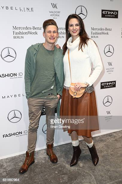 Katrin Wrobel and Lars Urban attend the holyGhost show during the MercedesBenz Fashion Week Berlin A/W 2017 at Kaufhaus Jandorf on January 17 2017 in...