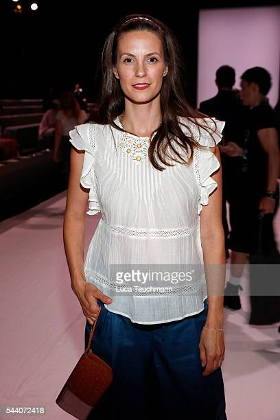 Katrin Wrobel attends the Julian Zigerli show during the MercedesBenz Fashion Week Berlin Spring/Summer 2017 at Erika Hess Eisstadion on July 1 2016...