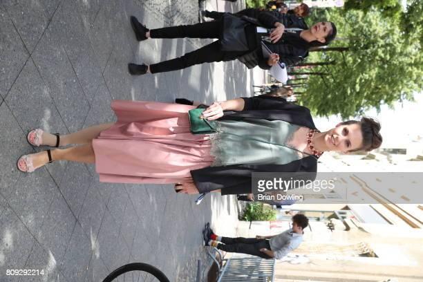 Katrin Wrobel attends the Rebekka Ruetz show during the MercedesBenz Fashion Week Berlin Spring/Summer 2018 at Kaufhaus Jandorf on July 5 2017 in...
