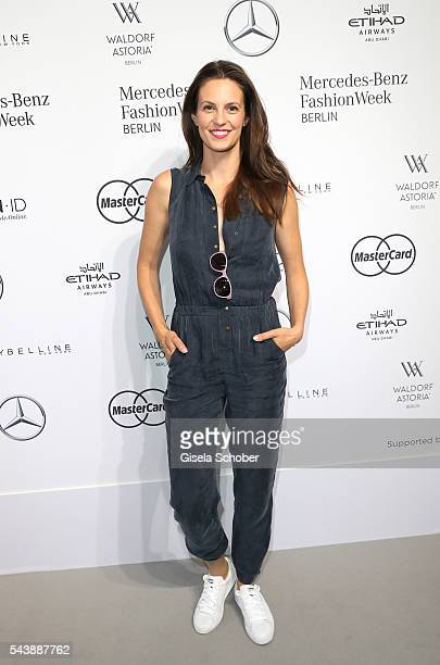 Katrin Wrobel during the Lena Hoschek show during the MercedesBenz Fashion Week Berlin Spring/Summer 2017 at Erika Hess Eisstadion on June 30 2016 in...