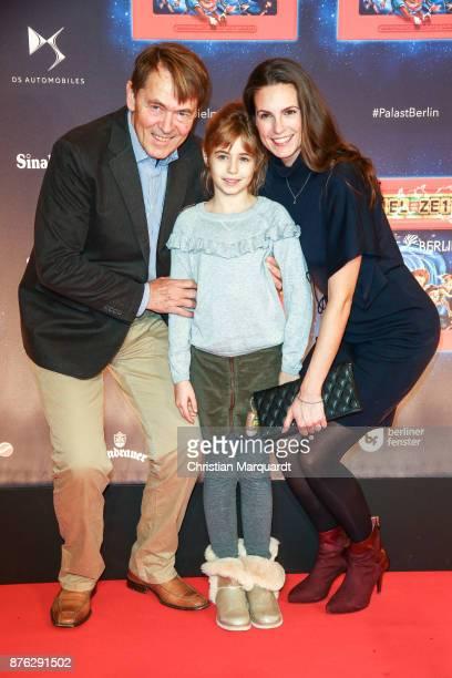 Katrin Wrobel with partner Klaus Frick and her daughter Louisa attend attends the premiere of the children show 'Spiel mit der Zeit' at...