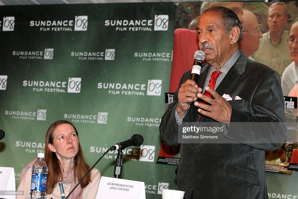 Katrina Browne and US Representative <a gi-track='captionPersonalityLinkClicked' href=/galleries/search?phrase=John+Conyers&family=editorial&specificpeople=217823 ng-click='$event.stopPropagation()'>John Conyers</a> attends the Traces of the Trade Press Conference at Yarrow during the 2008 Sundance Film Festival on January 21, 2008 in Park City, Utah.