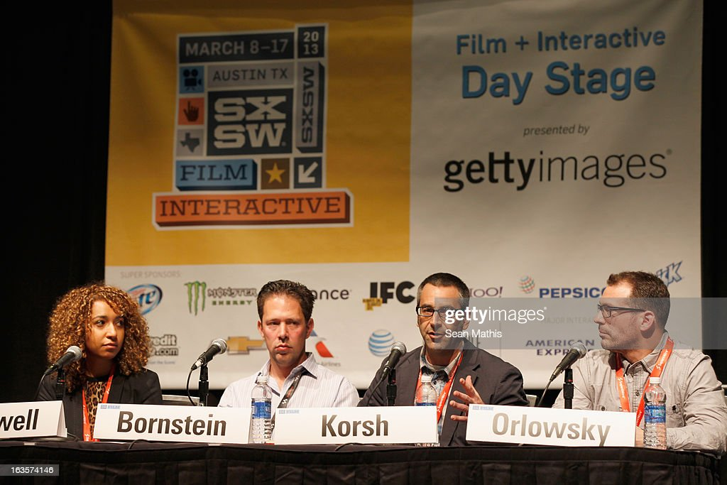 Katrina Craigwell, Head of Digital Marketing, GE, Daniel Bornstein Vice President, Global Advertising Sales DeviantArt, Eric Korsh, VP Group Director, Brand Content for Digitas and Peter Orlowsky, VP Business Development, Getty Images speak onstage at Visual Conversation: Being At The Center Of Social during the 2013 SXSW Music, Film + Interactive Festival at Film & Interactive Day Stage on March 11, 2013 in Austin, Texas.