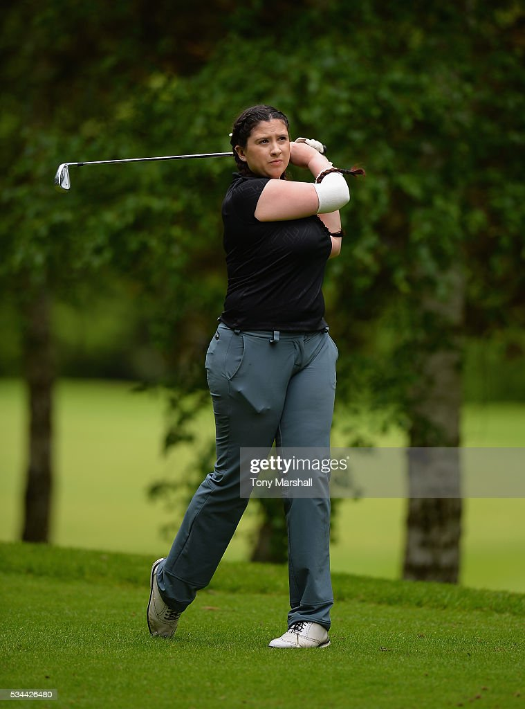 Katrina Gani of Shirley Golf Club plays her first shot on the 17th tee during the PGA Assistants Championships - Midlands Qualifier at the Coventry Golf Club on May 26, 2016 in Coventry, England.