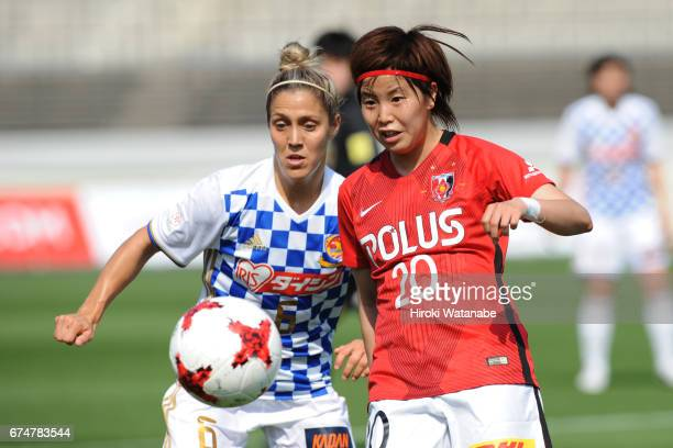 Katrina Gorry of Mynavi Vegalta Sendai Ladies and Chika Kato of Urawa Red Diamonds Ladies compete for the ball during the Nadeshiko League match...