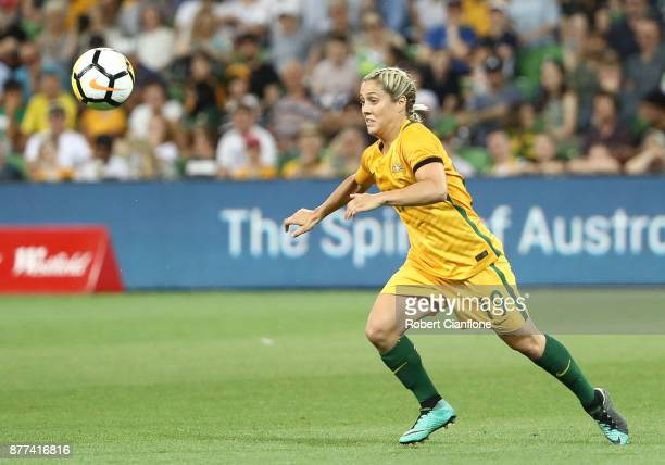 Katrina Gorry of the Matildas looks to get the ball during the Women's International match between the Australian Matildas and China PR at AAMI Park...