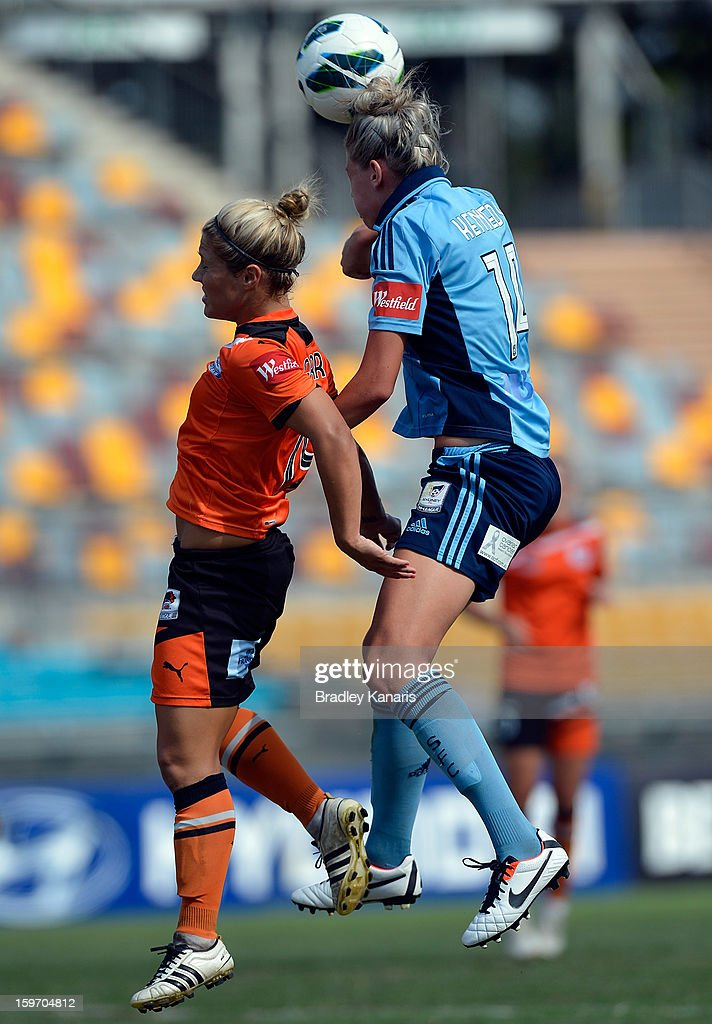 Katrina Gorry of the Roar and Alanna Kennedy of Sydney compete for the ball during the W-League Semi Final match between the Brisbane Roar and Sydney FC at Queensland Sport and Athletics Centre on January 19, 2013 in Brisbane, Australia.