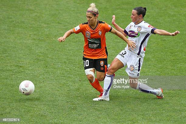Katrina Gorry of the Roar and Vanessa Bernardo of the Glory compete for the ball during the round five WLeague match between Brisbane Roar and Perth...