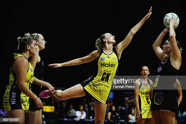 Katrina Grant of the Pulse defends against Ellen Halpenny of the Magic during the ANZ Championship match between the Magic and the Pulse on April 7...