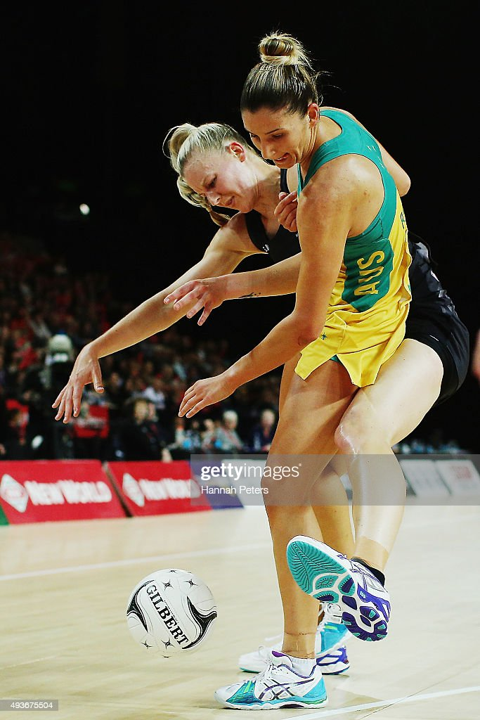 Katrina Grant of the Silver Ferns competes with Kimberley Ravaillion of Australia for the ball during the International Netball Test Match between...