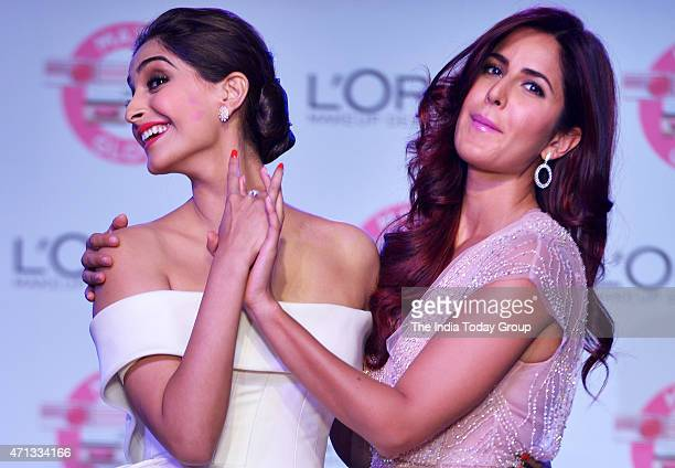 Katrina Kaif and Sonam Kapoor at the unveiling of LOreal Pariss new Cannes collection in Mumbai