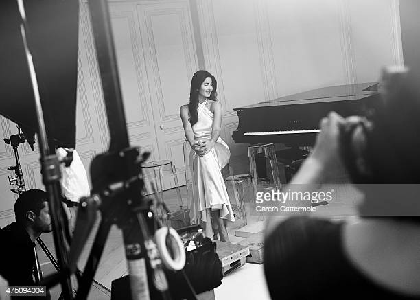 Katrina Kaif backstage during filming for LÃâ¢Oreal during the 68th annual Cannes Film Festival on May 14 2015 in Cannes France