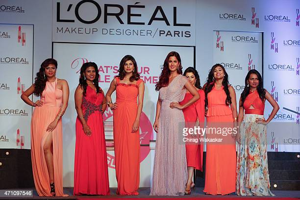 Katrina Kaif poses during the L'Oreal Paris 'Matte or Gloss' Cannes Collection Launch held at Lalit Hotel on April 25 2015 in Mumbai India