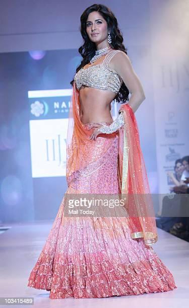 Katrina Kaif walks the ramp for Nakshatra diamonds during the first day of India International Jewellery Week in Mumbai on Sunday night