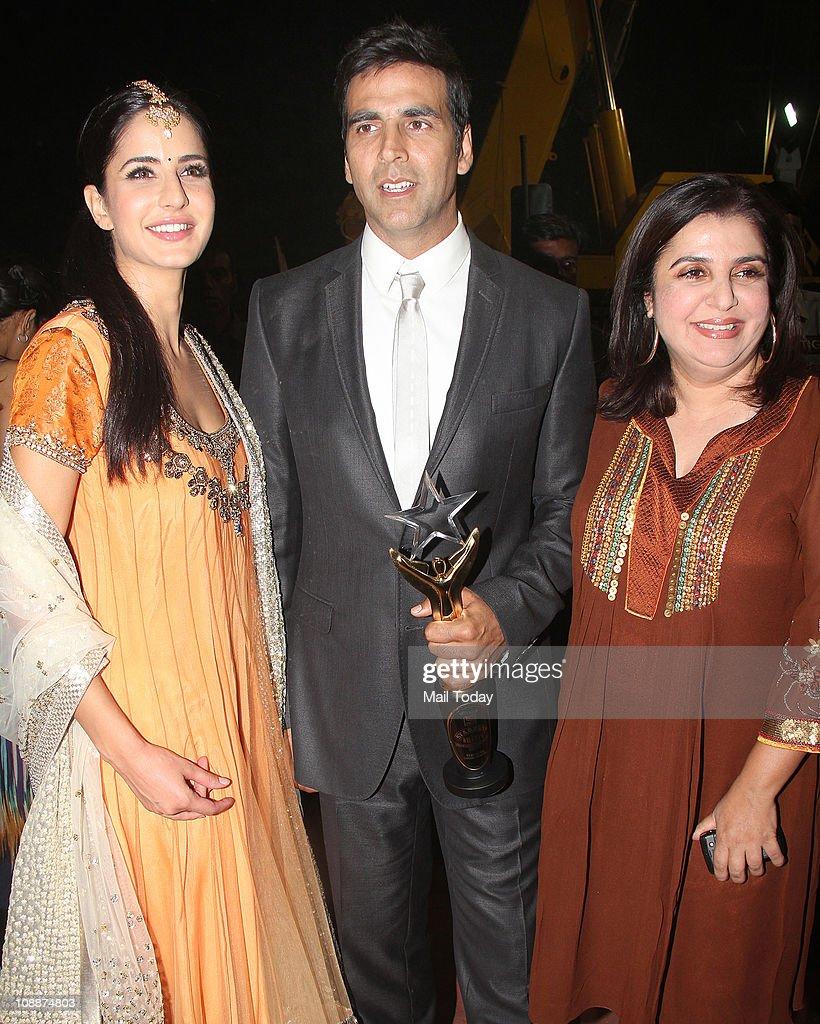 Katrina Kaif with Akshay Kumar and Farah Khan during the Stardust Awards function in Mumbai on Sunday evening