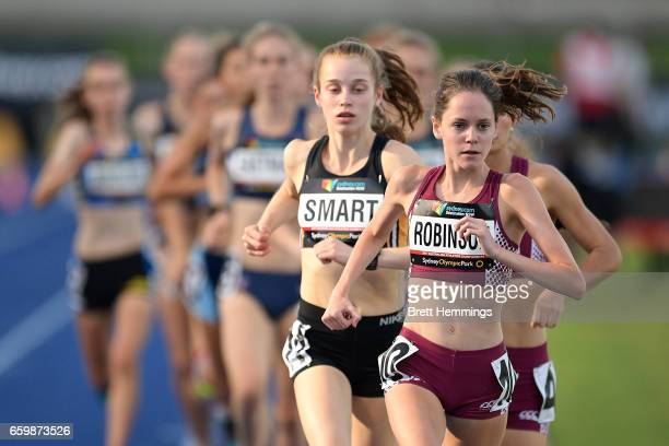 Katrina Robinson of Queensland competes in her U18 Womens 3000m race during day four of the 2017 Australian Athletics Championships at Sydney Olympic...